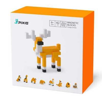 PIXIO - Pixio Orange Animals İnteraktif Mıknatıslı Manyetik Blok Oyuncak