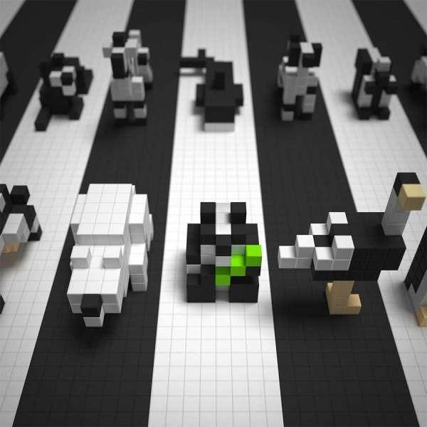 Pixio Black & White Animals İnteraktif Mıknatıslı Manyetik Blok Oyuncak
