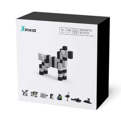 PIXIO - Pixio Black & White Animals İnteraktif Mıknatıslı Manyetik Blok Oyuncak