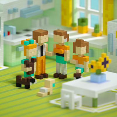 Pixio Happy Family İnteraktif Mıknatıslı Manyetik Blok Oyuncak - Thumbnail
