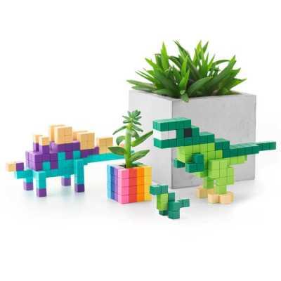 Pixio Mini Dinos İnteraktif Mıknatıslı Manyetik Blok Oyuncak - Thumbnail